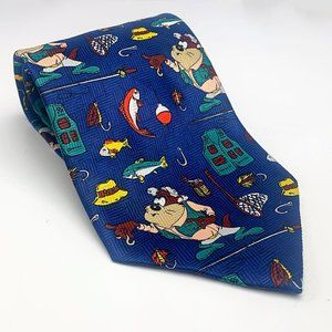 Warner Bros Looney Tunes Taz Fishing Satin Necktie